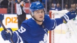 Toronto Maple Leafs centre William Nylander (29) celebrates his goal against the Tampa Bay Lightning during second period NHL hockey action in Toronto on Monday, February 12, 2018. THE CANADIAN PRESS/Chris Young