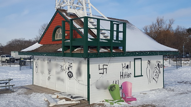 Racist graffiti is seen on the walls of the Leuty Lifeguard Station on Feb. 13, 2018. (Jorge Costa)