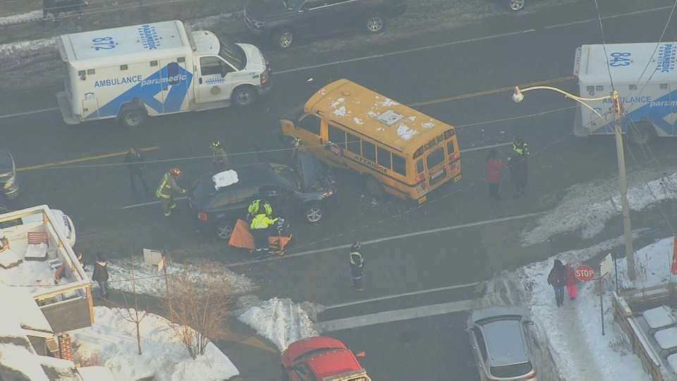 One child and one adult were taken to hospital after a school bus and car collided near Davenport and Somerset Avenue.