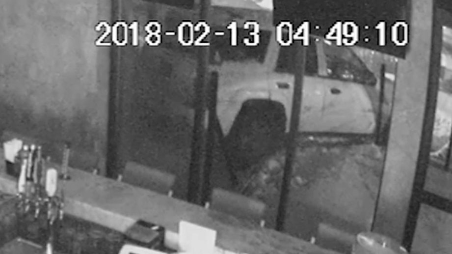 An image taken from security camera footage of a break-in at a restaurant in Hamilton. (Hamilton Police handout)