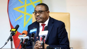 "Ethiopian Prime Minister Hailemariam Desalegn, during press conference in Addis Ababa, Ethiopia, Thursday, Feb. 15, 2018. Desalegn announced that he has submitted a resignation letter after the worst anti-government protests in a quarter-century, saying he hoped the surprise decision would help planned reforms succeed and create a ""lasting peace."" (AP Photo)"