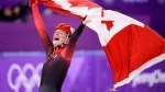 Canada's Kim Boutin, of Sherbrooke, Que., celebrates after winning bronze in the women's 1500-metre short-track speedskating at the 2018 Olympic Winter Games, in Gangneung, South Korea, Saturday, February 17, 2018. THE CANADIAN PRESS/Paul Chiasson
