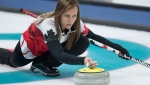 Team Canada's skip Rachel Homan leaves the hack during round-robin curling action against Denmark at the PyeongChang 2018 Olympic Winter Games in Korea, Friday, February 16, 2018. THE CANADIAN PRESS/HO - COC/Jason Ransom