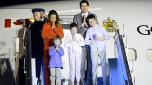 Prime Minister Justin Trudeau's state visit to India is officially underway as he arrived with his family in New Delhi at sundown Saturday. Prime Minister Justin Trudeau, wife Sophie Gregoire Trudeau, and children, Xavier, 10, Ella-Grace, 9, and Hadrien, 3, arrive in New Delhi, India, on Saturday, Feb. 17, 2018. THE CANADIAN PRESS/Sean Kilpatrick