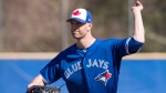 Toronto Blue Jays pitcher J.A. Happ takes part in a drill at Spring Training in Dunedin, Fla., on Friday February 16, 2018. THE CANADIAN PRESS/Frank Gunn