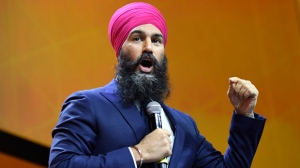 NDP Leader Jagmeet Singh speaks during the Federal NDP Convention in Ottawa on Saturday, Feb. 17, 2018. THE CANADIAN PRESS/Justin Tang