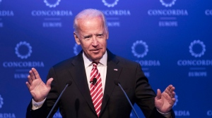 In this June 7, 2017, file photo, former U.S. Vice President Joe Biden speaks during a conference in Athens. Biden is tiptoeing toward a potential run in 2020, even broaching the possibility during a recent gathering of longtime foreign policy aides. Huddled his newly opened office steps from the U.S. Capitol, Biden opened a planning meeting for his new diplomacy center by addressing the elephant in the room. He said he was keeping his 2020 options open, considering it a real possibility.   (AP Photo/Petros Giannakouris, File)