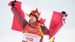 Alex Beaulieu-Marchand, of Canada, celebrates his bronze medal following the men's ski slopestyle final at Phoenix Snow Park during the 2018 Olympic Winter Games, in Pyeongchang, South Korea, Saturday, February 17, 2018. THE CANADIAN PRESS/Jonathan Hayward