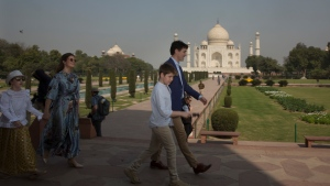 Canadian Prime Minister Justin Trudeau, with his family leaves after visiting the Taj Mahal, in Agra, India, Sunday, Feb. 18, 2018. Trudeau arrived in India on Saturday for a weeklong visit aimed at enhancing business ties between the two countries. Trudeau and Indian Prime Minister Narendra Modi are also expected to focus on areas including civil nuclear cooperation, space, defense, energy and education. (AP Photo/Manish Swarup)