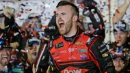 Austin Dillon celebrates in Victory Lane after winning the NASCAR Daytona 500 Cup series auto race at Daytona International Speedway in Daytona Beach, Fla., Sunday, Feb. 18, 2018. (AP Photo/Terry Renna)