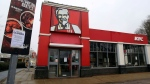 A closed sign is seen outside a KFC restaurant near Ashford, England, Monday, Feb. 19, 2018. (Gareth Fuller/PA via AP