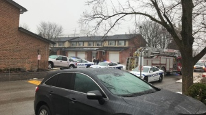 The scene of a shooting in Brampton is seen in this photo.