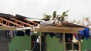 This image made from a video, shows a house damaged by Cyclone Gita in Nuku' Aoalofa, Tonga on Wednesday, Feb. 14, 2018. (TVNZ via AP)