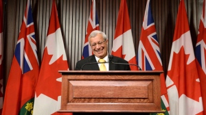 Ontario PC party interim leader Vic Fedeli speaks at a press conference after a caucus meeting at Queen's Park in Toronto on Friday, January 26, 2018. Fedeli has been named interim leader of Ontario's Progressive Conservatives after Patrick Brown's resignation in the face of sexual misconduct allegations. THE CANADIAN PRESS/Nathan Denette