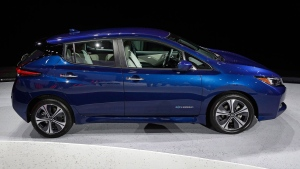 In this Tuesday, Sept. 5, 2017, file photo, the 2018 Nissan Leaf is on display during an unveiling event in Las Vegas. THE CANADIAN PRESS/AP-John Locher