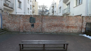 "A fragment of the former Warsaw Ghetto wall in Sienna 53 street that a regional official for preservation of historical sites wants put on a list of protected historical monuments, in Warsaw, Poland, Tuesday, Feb. 20, 2018. The wall was built in 1940, when the Nazi Germans closed the area of Warsaw they called the ""Jewish district."" (AP Photo/Czarek Sokolowski)"