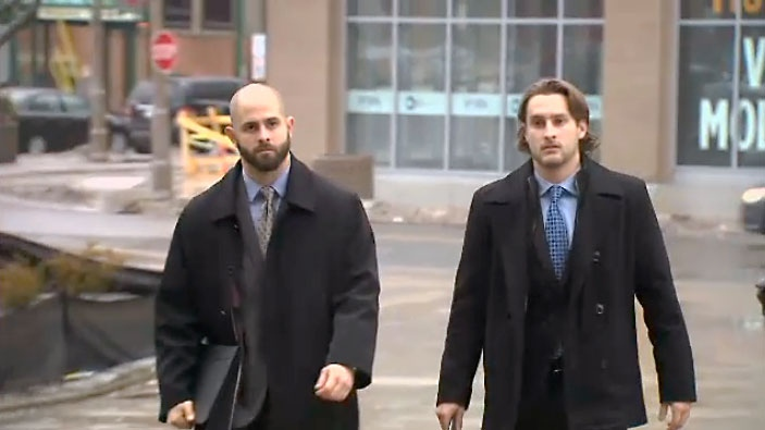 Michael Theriault and his brother Christian Theriault are seen arriving at court. (File Photo)