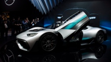 The Mercedes-AMG Project One Hypercar is displayed at the Canadian International AutoShow in Toronto on Thursday, February 15, 2018. THE CANADIAN PRESS/Christopher Katsarov