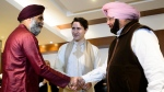 Prime Minister Justin Trudeau and Minister of National Defence Harjit Sajjan meet with Chief Minister of Punjab Amarinder Singh in Amritsar, India on Wednesday, Feb. 21, 2018. THE CANADIAN PRESS/Sean Kilpatrick