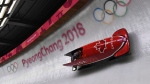 Canada driver Kaillie Humphries and Phylicia George race down the track in women's bobsled finals during 2018 Winter Olympics in Pyeongchang, South Korea, on Wednesday Feb. 21, 2018. THE CANADIAN PRESS/Jonathan Hayward