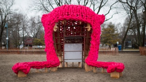 "A pink toque inspired ""Pussy Hut"" is pictured on Toronto's beach Wednesday February 21, 2018. A massive pink toque has taken over a stretch of a Toronto beach a year after thousands of protesters donned bright pink hats to protest gender inequality. THE CANADIAN PRESS/Chris Young"