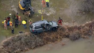 Car swept into Grand River