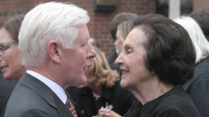 Bob Rae shares a moment with Sonja Bata, following the funeral of her husband, Canadian business legend Thomas Bata in Toronto on September 5, 2008.  THE CANADIAN PRESS/Anand Maharaj