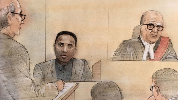 Dafonte Miller is seen testifying at a preliminary hearing for a Toronto cop and his brother accused of severely beating the Whitby teenager. (John Mantha)
