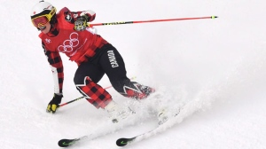 Kelsey Serwa of Canada competes in the women's ski cross quarterfinal at the Phoenix Snow Park at the 2018 Winter Olympic Games in Pyeongchang, South Korea, Friday, Feb. 23, 2018. THE CANADIAN PRESS/Jonathan Hayward