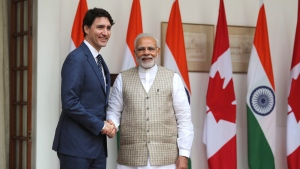 Indian Prime Minister Narendra Modi, right, shakes hand with his Canadian counterpart Justin Trudeau before their meeting in New Delhi, India, Friday, Feb. 23, 2018. Trudeau is in India on a weeklong visit aimed at enhancing business ties between the two countries. (AP Photo/Manish Swarup)