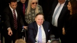 In this May 23, 2017, file photo, Sheldon Adelson arrives for President Donald Trump's speech at the Israel museum in Jerusalem. Adelson has proposed paying for at least part of the new U.S. embassy in Jerusalem, four U.S. officials told The Associated Press, and the Trump administration is considering the offer. Lawyers at the State Department are looking into the legality of the highly unconventional proposal to cover part or all of the embassy's costs through private donations, the administration officials said. (AP Photo/Sebastian Scheiner, File)