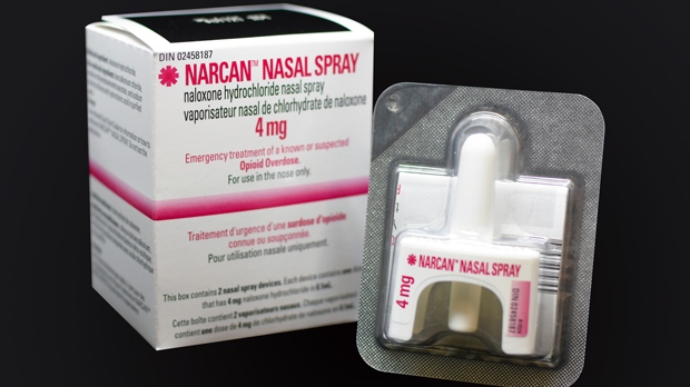 A Naloxone nasal spray packet is shown in an undated file image.