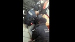 A screengrab from viewer video posted online on Sunday shows multiple Toronto police officers and a TTC fare inspector pinning a teenage boy to the ground on the 512 St. Clair streetcar route on Sunday. (Facebook / Bethany EJ McBride)