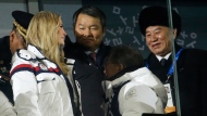 Ivanka Trump, left, U.S. President Donald Trump's daughter and Kim Yong Chol, vice chairman of North Korea's ruling Workers' Party Central Committee, right, attend the closing ceremony of the 2018 Winter Olympics in Pyeongchang, South Korea, Sunday, Feb. 25, 2018. (AP Photo/Natacha Pisarenko)