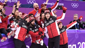 The Canadian team of Samuel Girard, Charles Hamelin, Charle Cournoyer and Pascal Dion celebrate as they capture bronze in the men's 5,000-metre relay final celebrates the 2018 Olympic Winter Games, in Gangneung, South Korea on Thursday, February 22, 2018. Some Canadian athletes, including Hamlin, declared it was their final Olympic skate, slide or ski. THE CANADIAN PRESS/Paul Chiasson