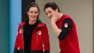 Olympic double gold medallist Scott Moir shares a moment with partner Tessa Virtue as they arrive at the airport in London, Ontario, from the Pyeongchang Olympics, Monday, February 26, 2018. THE CANADIAN PRESS/ Geoff Robins