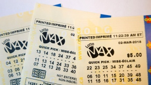 A lotto Max ticket is shown in Toronto on Monday Feb. 26, 2018. THE CANADAIN PRESS