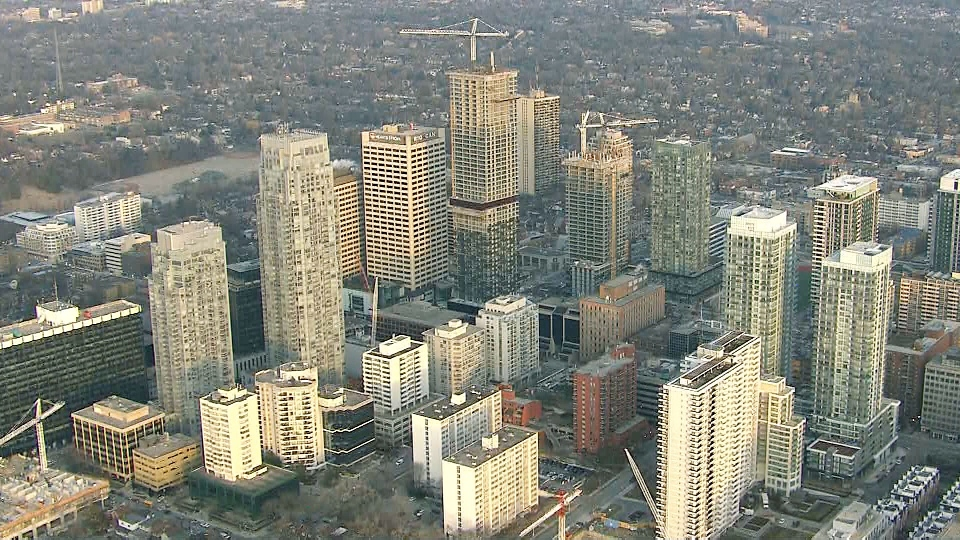 A view of Toronto's Yonge and Eglinton area from the CTV News Toronto chopper.
