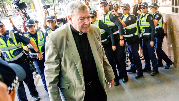 George Pell arrives at court for historical sexual offences case