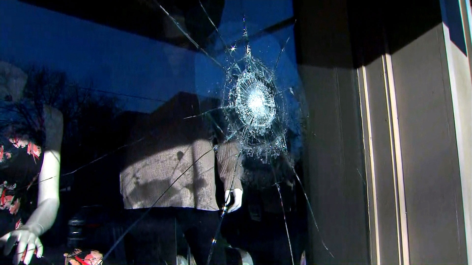 Vandalism at a small business in Hamilton over the weekend is shown.