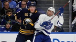 Buffalo Sabres defenseman Rasmus Ristolainen (55) and Toronto Maple Leafs forward Nazem Kadri (43) collide during the first period of an NHL hockey game, Monday, March 5, 2018, in Buffalo, N.Y. (AP Photo/Jeffrey T. Barnes)