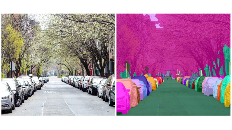 "This undated combo of images provided by CrowdFlower shows before and after renderings from CrowdFlower's Human-in-the-Loop technology, which provides sophisticated tools that enable a person to label and structure every part of a normal photo and convert it into structured ""training data'"" that an AI system can understand and interpret. (CrowdFlower via AP)"