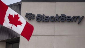A Canadian flag flies at BlackBerry's headquarters in Waterloo, Ont., Tuesday, July 9, 2013. THE CANADIAN PRESS/Geoff Robins