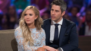 "This image released by ABC shows Lauren Burnham, left, and Arie Luyendyk Jr. on ""The Bachelor: After the Final Rose."" Luyendyk says he's willing to take the heat for dumping Becca Kufrin to find true love with runner-up Lauren Burnham. (Paul Hebert/ABC via AP)"