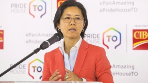 Toronto Councillor Kristyn Wong-Tam speaks during the opening ceremony of the PrideHouse Toronto, ahead of the Pan American Games, in Toronto Wednesday, July 8, 2015. THE CANADIAN PRESS/Mark Blinch