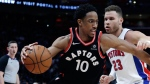 Toronto Raptors guard DeMar DeRozan (10) drives on Detroit Pistons forward Blake Griffin (23) during the second half of an NBA basketball game Wednesday, March 7, 2018, in Detroit. (AP Photo/Carlos Osorio)