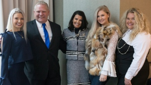 Doug Ford, second from left, stands with his wife Karla, centre, and his daughters Kyla, left, Kayla and Kara, right, as they pose before the start of the Ontario PC Leadership announcement in Markham, Ont., on Saturday, March 10, 2018. THE CANADIAN PRESS/Chris Young