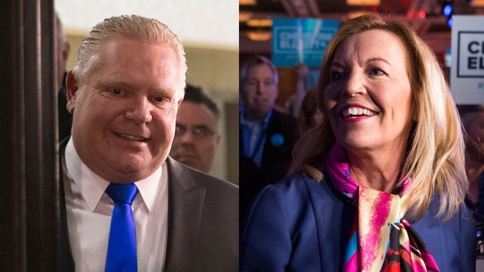 Doug Ford and Christine Elliott are pictured at the Ontario Progressive Conservatives Leadership convention in Markham, Ont., on Saturday, March 10, 2018 in this composite image. THE CANADIAN PRESS/Chris Young