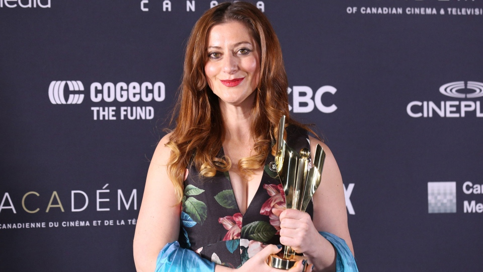 Screen Award winner for Adapted Screenplay, The Breadwinner, Anita Doron, poses backstage at the Canadian Screen Awards in Toronto on Sunday March 11, 2018. THE CANADIAN PRESS/Peter Power