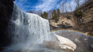"Webster Falls in Hamilton, Ontario on Friday, March 2, 2018. Although Hamilton has long been known as Canada's ""steel city"" because it's home to a large manufacturing industry, natural attractions are becoming part of its revamped image. THE CANADIAN PRESS/Peter Power"